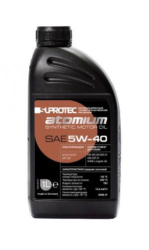 Синтетическое моторное масло 5W-40 Супротек/Атомиум, 1 литр. Для дизельного и бензинового двигателя автомобиля